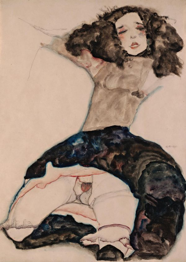 Schiele, Egon: Black Haired Girl with Lifted Skirt. Fine Art Print/Poster. Sizes: A4/A3/A2/A1 (003669)